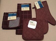 Kitchen Set Towel Dish Cloth Scrubbie Pot Holder Oven Mitt Chocolate Brown NEW