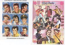 Due Elvis Presley King of Rock N Roll Verde Menta TIMBRO sheetlets