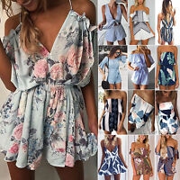 Women Summer Jumpsuit Shorts Bodycon Party Beach Rompers Playsuit Mini Sun Dress