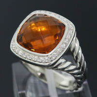 David Yurman Sterling Silver 11mm Citrine Cable Albion Diamond Ring Size 6.25