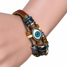 Men Women Bracelet Handmade Jewellery Turkish Eye Leather Wristband Adjustable
