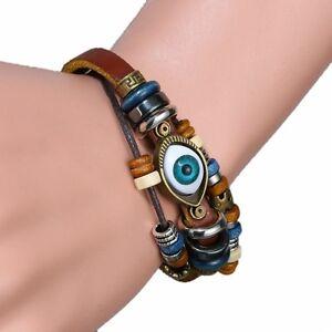 Bracelet Turkish Eye Leather Wristband Handmade Jewellery Adjustable Men Women