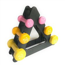 6Kg Ladies Aerobic Vinyl Dumbbell Weights Set & Rack for Home Aerobics Training