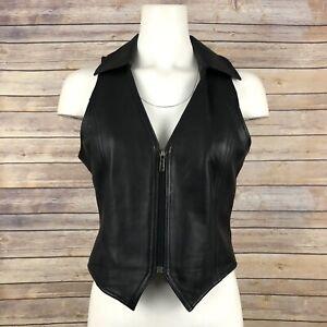 Wilsons Leather Pelle Studio Vest SZ S Black Lined Zip Closure Moto Sleeveless