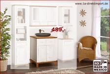 Waschtisch Badmöbel Badezimmermöbel MEXICO Weiß / Natur, Pinie massiv, Shabby