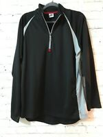 ALO Cool Fit Mens Black Solid 1/4 Zip Long Sleeve Activewear Pullover Size XL