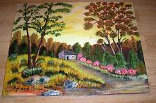 VINTAGE YELLOW SKY GOLDEN DAWN WILD FLOWERS HOUSE LANDSCAPE FOLK ART PAINTING