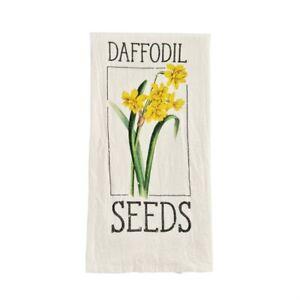 Mud Pie Daffodil Seed Packet Flour Sack Kitchen Dish Towel