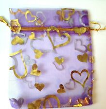 15 Purple Gold Heart Organza Bags Jewellery Packaging Party Favour