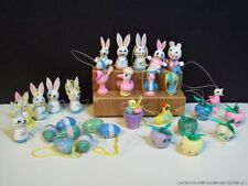 30 Easter Bunny Rabbits Birds Eggs Wooden Miniature Ornaments Painted Vintage