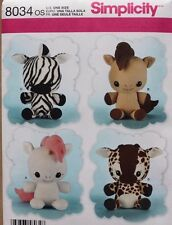 "16 1/2"" STUFFED ANIMALS-HORSE-ZEBRA-GIRAFFE Simplicity Pattern 8034 NEW Toy"