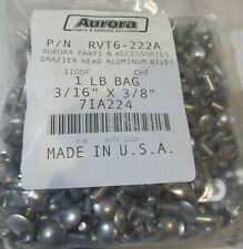"1-Lb Bag (209) Usa Made Solid Aluminum Rivets Brazier Head 3/16"" x 3/8"" 1100F"