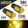 For Ford Fiesta MK6 Led Cob Amber Rear Indicator Light Bayonet Bulbs Upgrade 12v