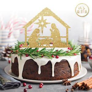 Christmas cake topper Jesus nativity Christmas glitter gold jesus nativity cake