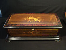 "Beautiful 19th C. Antique 24.5"" 10-Tune Cylinder Music Box, Inlaid Walnut Case"