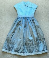 American Girl Sz 7 Fancy Dress Blue Gray Asian Inspired Embroidered Short Sleeve