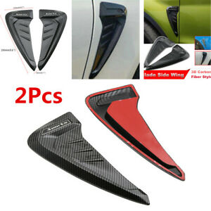 Pair Universal Car Fender Blade Side Wing Vent Shark Gills 3D Carbon Fiber Look