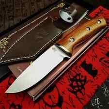 Couteau en bois avec Etui en cuire Couteau sauvetage camping léger et tranchant