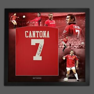 Eric Cantona Signed Man United Football Shirt Framed Picture Mount Display