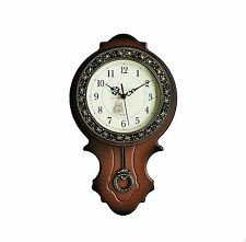 New World Voyage Simulated Wood Pendulum Wall Clock, Quartz, ABS Glass Front On