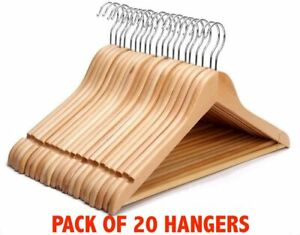 20 x Wooden Coat Hangers Suit Garments Clothes Wardrobe Wood Hanger Trouser Bar