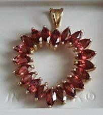 10 K YELLOW GOLD MARQUISE GARNET HEART NECKLACE PENDANT