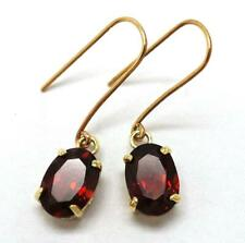 SYJEWELLERY PRETTY 9CT SOLID YELLOW GOLD OVAL NATURAL GARNET DROP EARRINGS E803