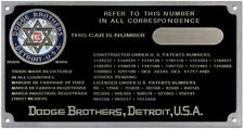 Dodge Brothers Car & Truck data plate COLOR logo acid etched alum. 1920s - 1930s