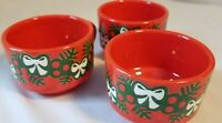 Waechtersbach 3 Christmas mugs • Red holly berries and bows W Germany