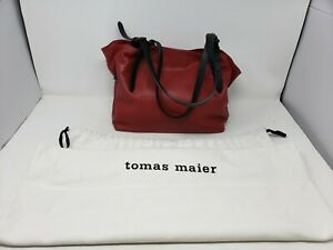 EUC TOMAS MAIER Dark Red Leather TOTE Handbag adjustable Hand straps w/ Dust Bag