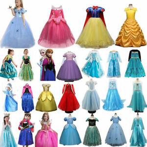 Kinder Mädchen Prinzessin Kleid Cosplay Kostüm Elsa Belle Anna Cosplay Party DE