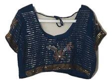 Bleu Indien Sari jupon (3 pièces) avec chemisier sari, Petti Coat