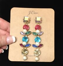Sold Out! Nwt New$65 Multi Color J.Crew Crystal And Pearl Drop Earrings!