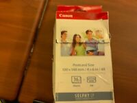 BRAND NEW CANON SELPHY CP COMPACT 36 SHEETS PHOTO PRINTER PAPER AND INK KP-36IP