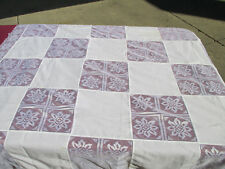 "Christmas Tablecloth Lace Patchwork White Vtg Poinsettia Holiday 49"" x 50"""