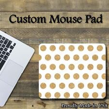 "Gold Polka Dots on White Cool Mouse Pad 1/8"" thick-7.75""x9.25"" Gaming Mousepad"
