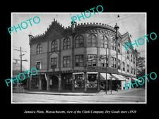 Old Large Historic Photo Of Jamaica Plain Massachusetts, The Clarks Store c1920