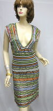 MiSSONI NWOT Made In Italy Green Multi Color V-Neck Dress SZ 40 USA 4