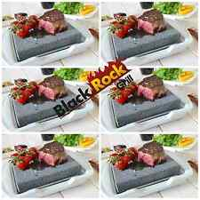 Hot Stone Cooking Steak Dinner Black Rock Grill Set 6 Lava Sizzling Plate HO-19