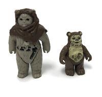 Vintage Star Wars Ewok Wicket Chief Chirpa 2 Figures ROTJ 1983 1984