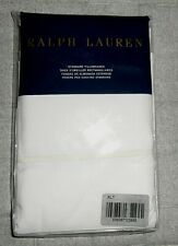 RALPH LAUREN PALMER COLLECTION 2 STANDARD PILLOWCASES IN WHITE WITH CREAM