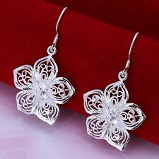 Hot 925silver Plt Drop Dangle Hanging Hook Earrings Hoop Ladies Womens 16 Styles Filigree Hollow Flower