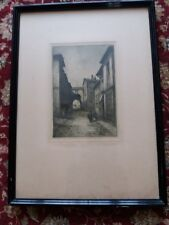 Lovely etching by Rhys Jenkins, 20thC Welsh artist Cross Domenica, Faenza, Italy