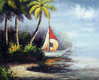 Sailboat Palms Island Jungle Harbor Pacific Shore 20X24 Oil Painting STRETCHED