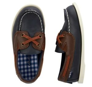 New Carter's Boat Shoes toddler boys size: 12 navy brown
