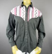 H Bar C Western Ranchwear Pearl Snap Medium Button Down Shirt Usa Vintage D6