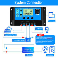 30 60A Solar Panel Battery Charge Controller 12V/24V LCD Regulator Auto Dual-USB
