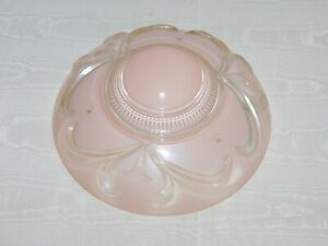 "VINTAGE  HOUSE 11 1/4"" ACROSS 3 HOLE HANGING GLASS BLUSH PINK GLOBE LIGHT COVER"