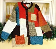 Women M Patchwork Sweater Multi Color Buttons Pockets LS Lagenlook Upcycle Style