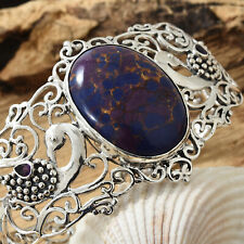 Mojave Purple Turquoise and Amethyst in sterling silver openwork cuff bracelet